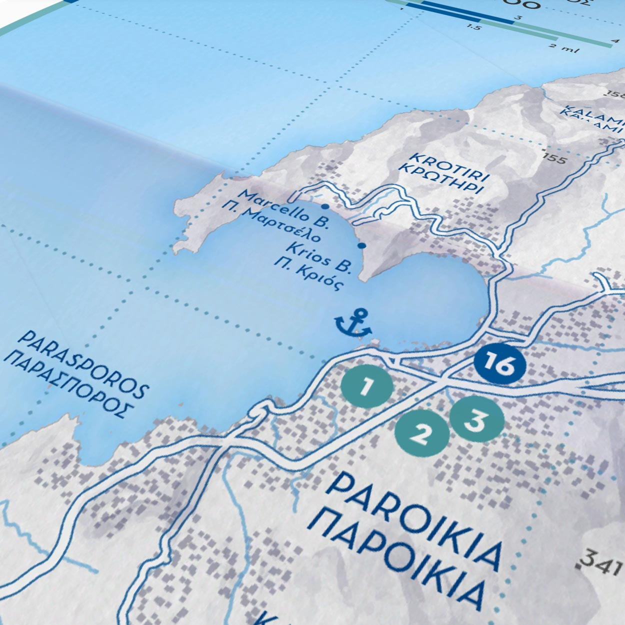 Paros Island   Paper Map   Side B