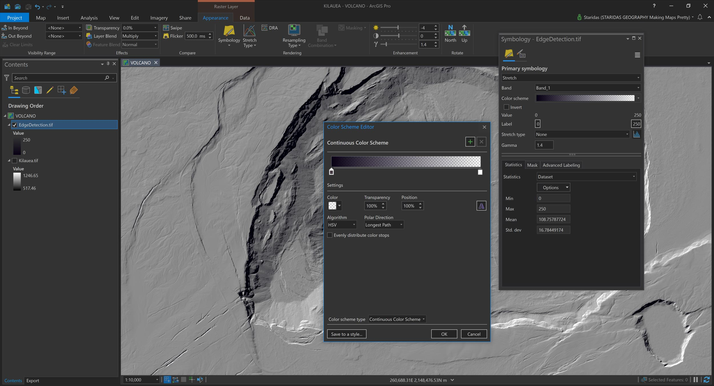 Picture 9: Rendering the filtered EdgeDetection raster in ArcGIS Pro