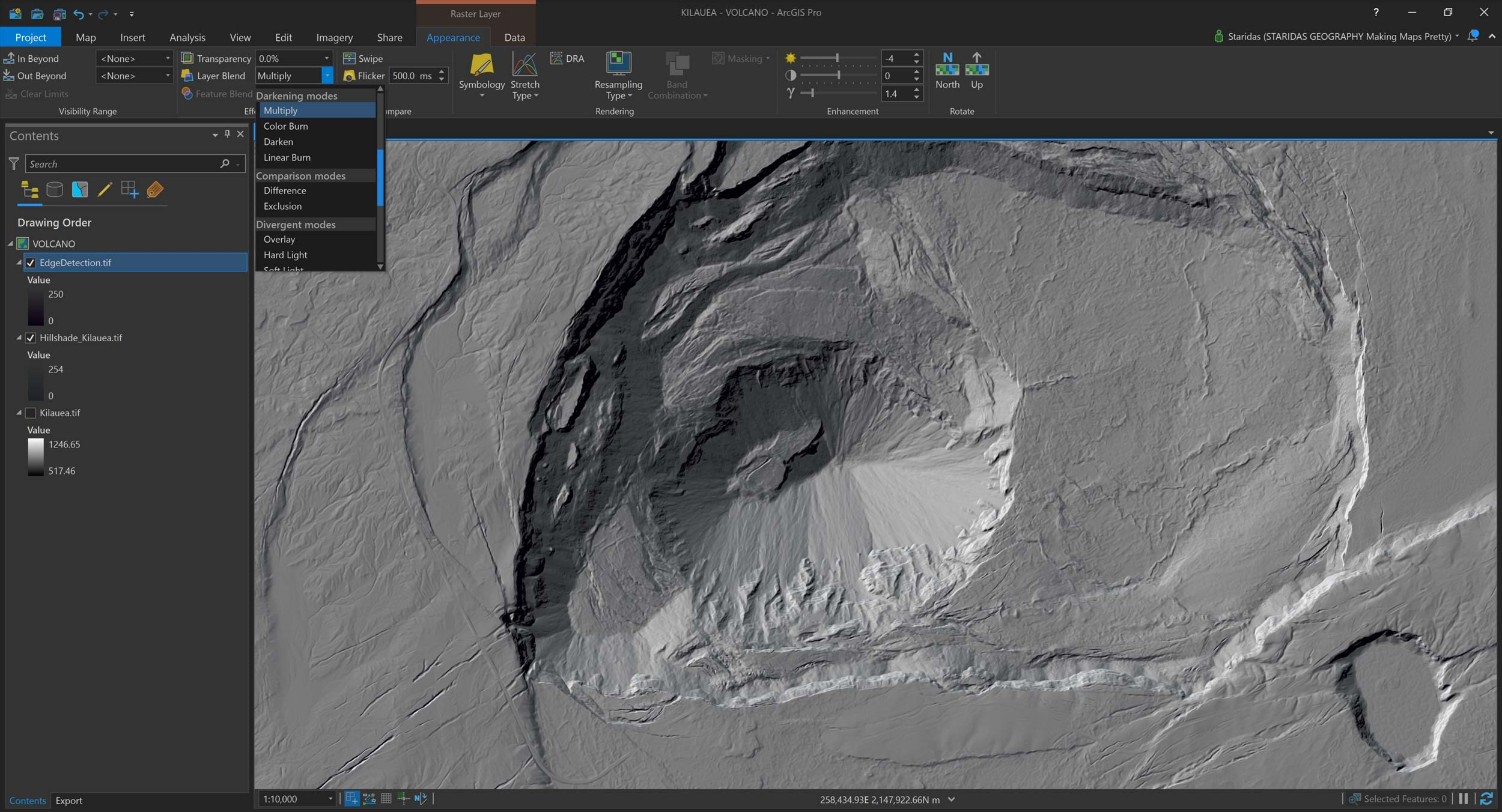 Picture 15: Blending the EdgeDetection and Hillshade rasters in ArcGIS Pro.