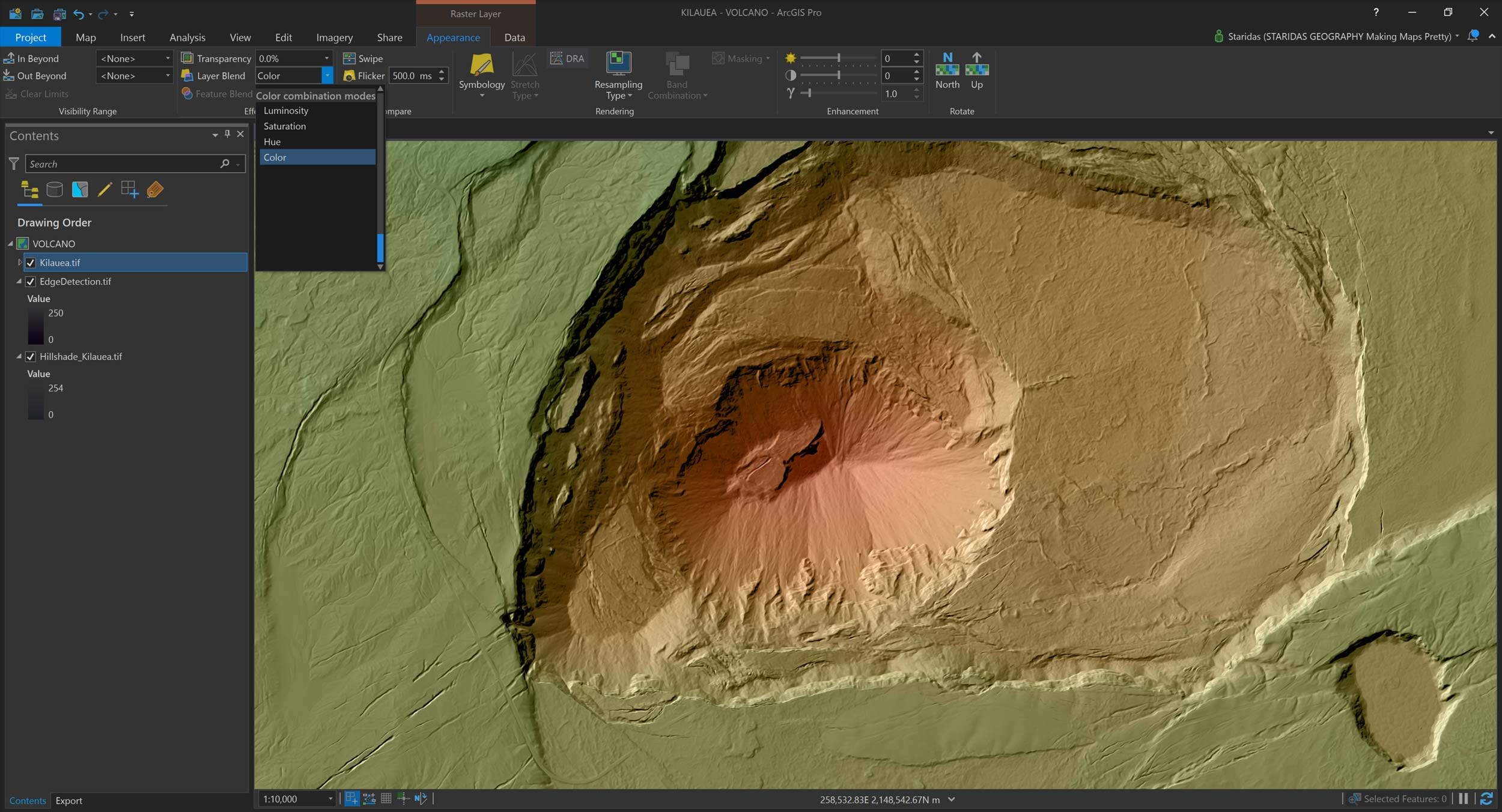 Picture 17: Blending Elevation with the EdgeDetection and Hillshade layers.