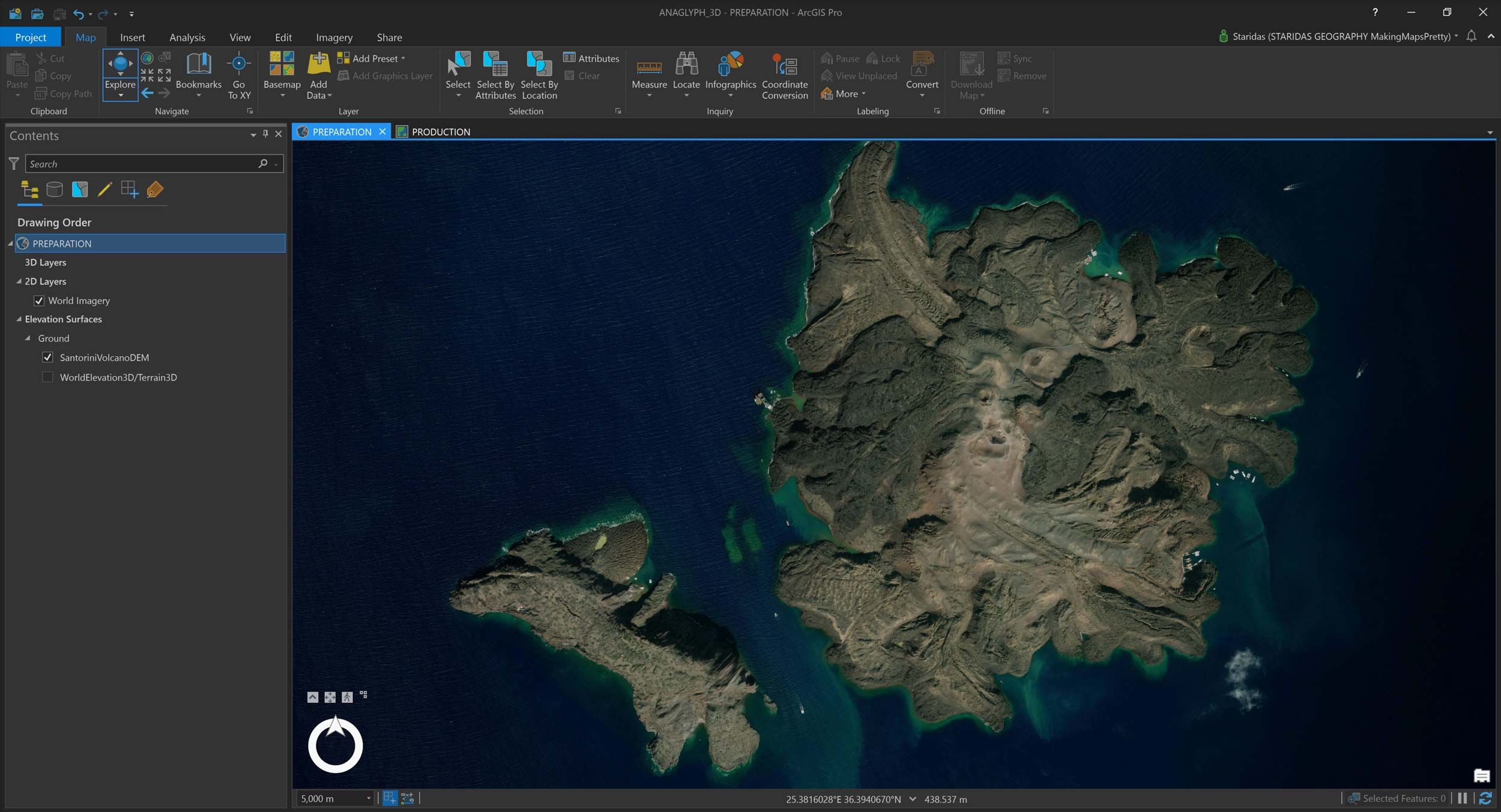 Picture 1: Preparing my workflow in ArcGIS Pro.