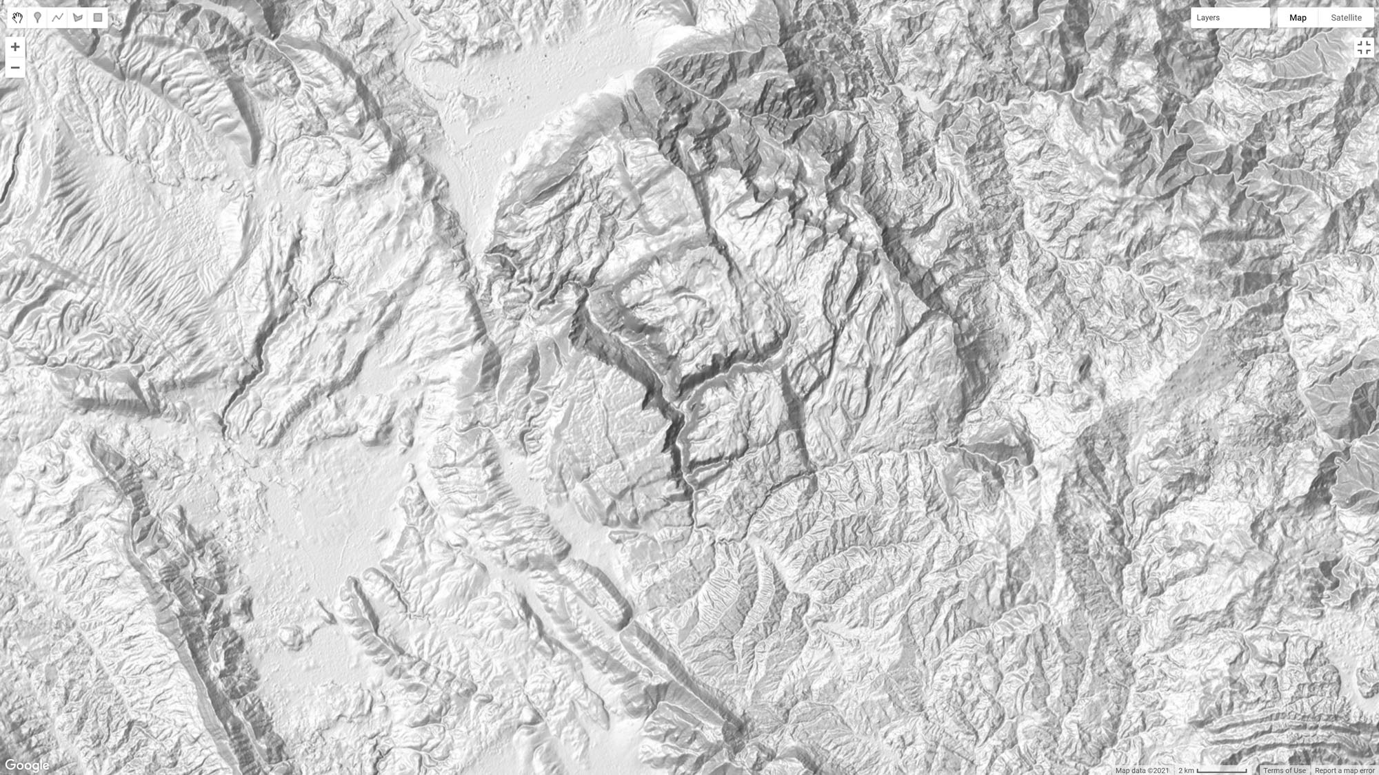 Picture 1: Shaded Relief in Earth Engine derived from mosaicing the Multidirectional Hillshade and the Slope raster.
