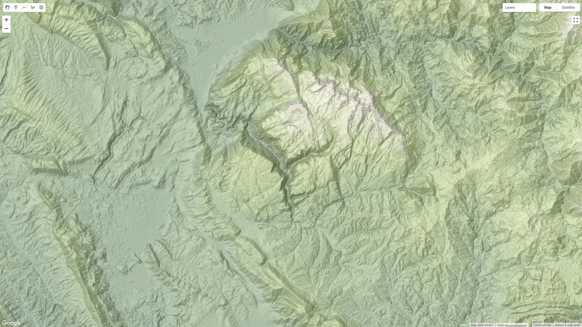 Picture 2: Hypsometric tinting of the Shaded Relief