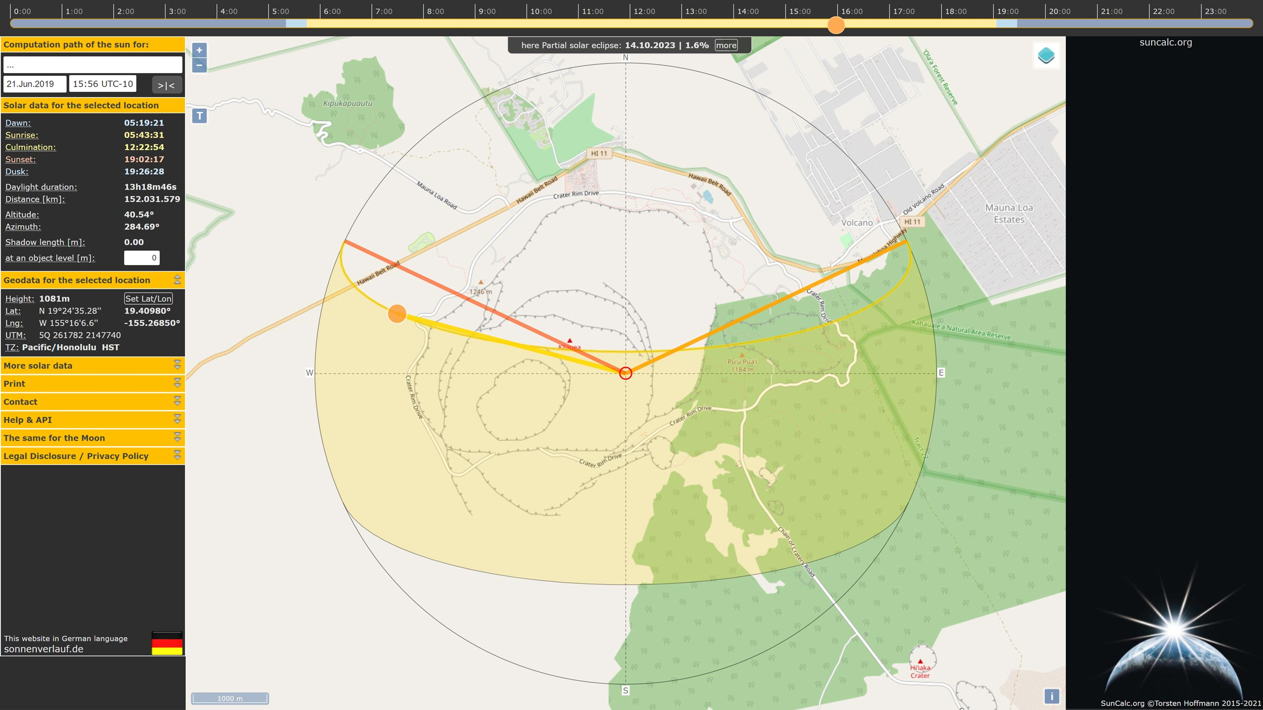 Picture 12: Using SunCalc to define the Azimuth/Altitude values for the hillshade.