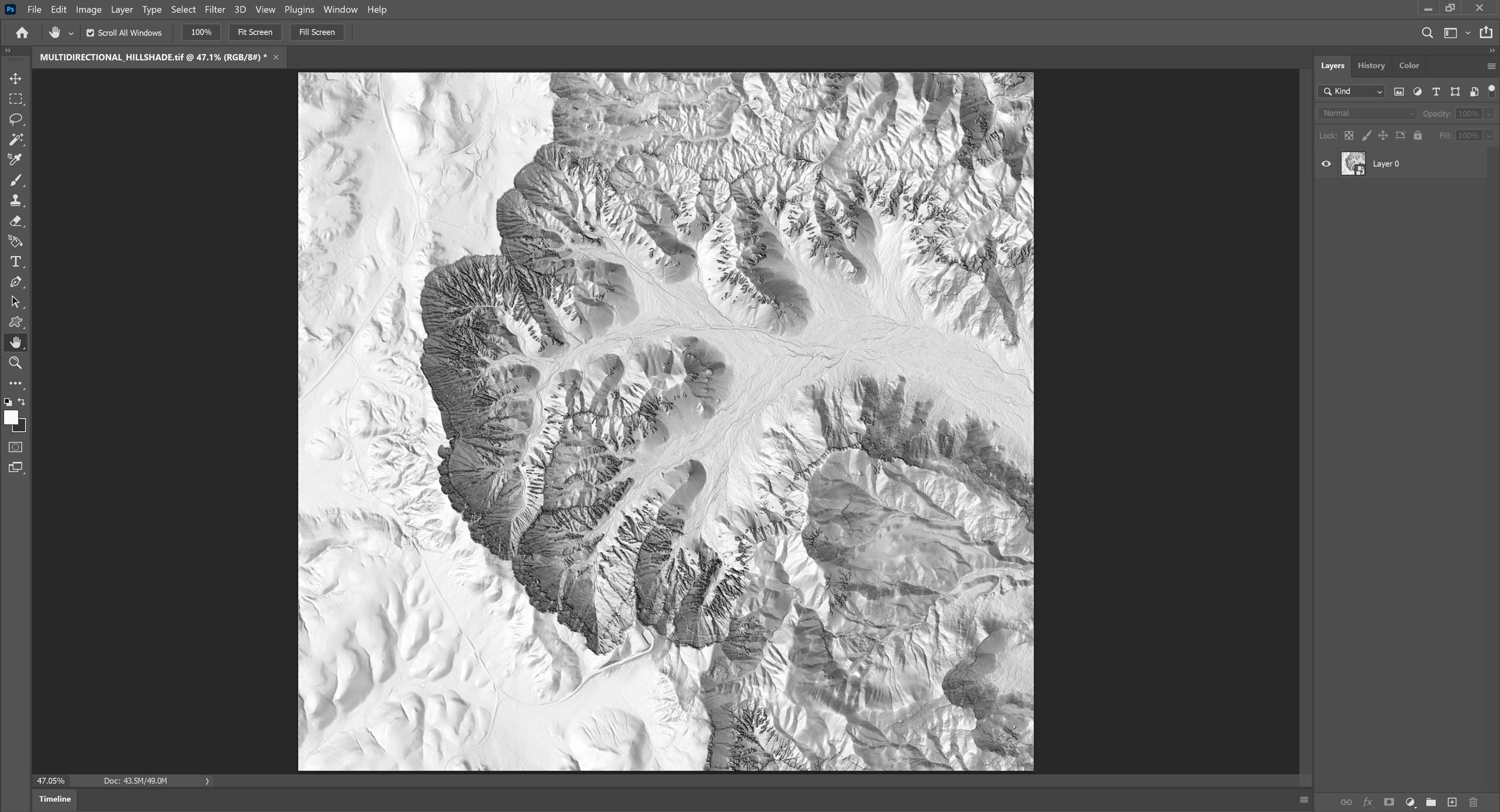 Picture 8: Load the multi-directional hillshade in Adobe Photoshop.