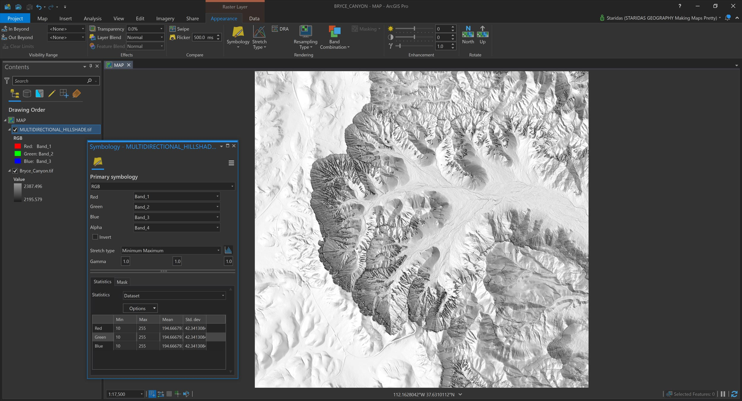 Picture 15: The filtered hillshade in ArcGIS Pro.