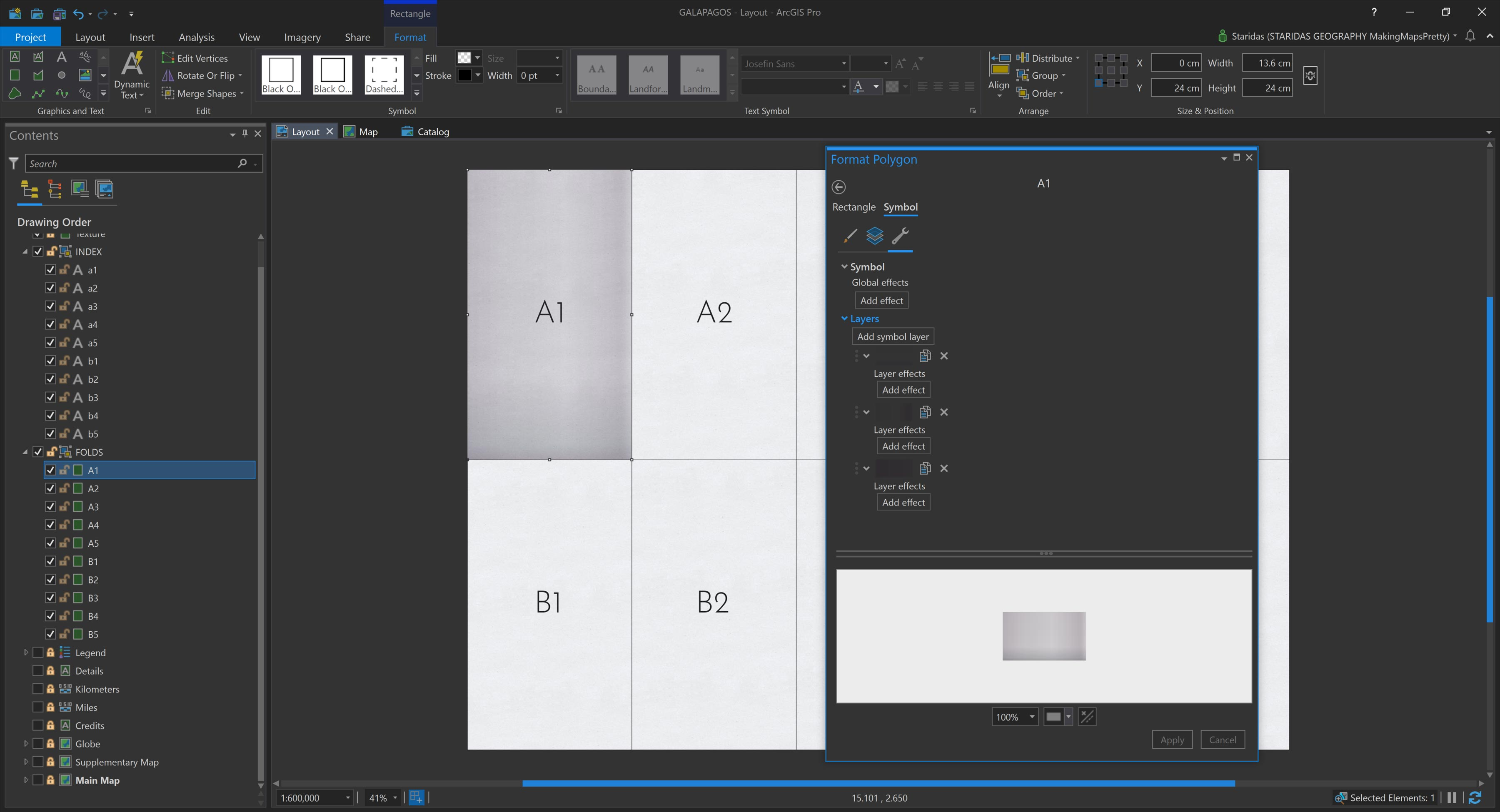 Picture 5: Combining three Symbols Layers for each graphic rectangle.