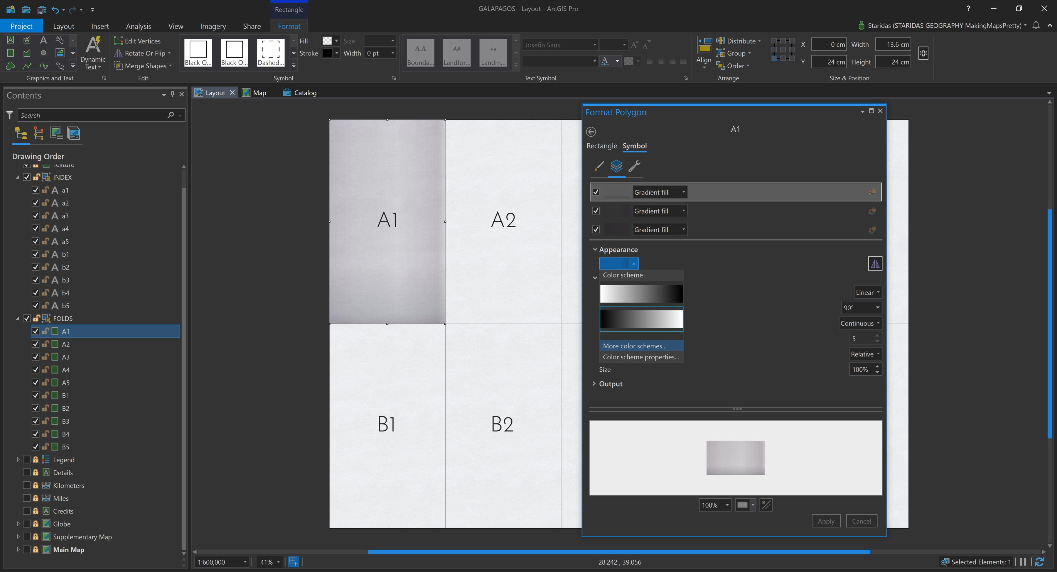 Picture 6: Applying a Gradient fill on every Symbol Layer of each individual graphic rectangle.