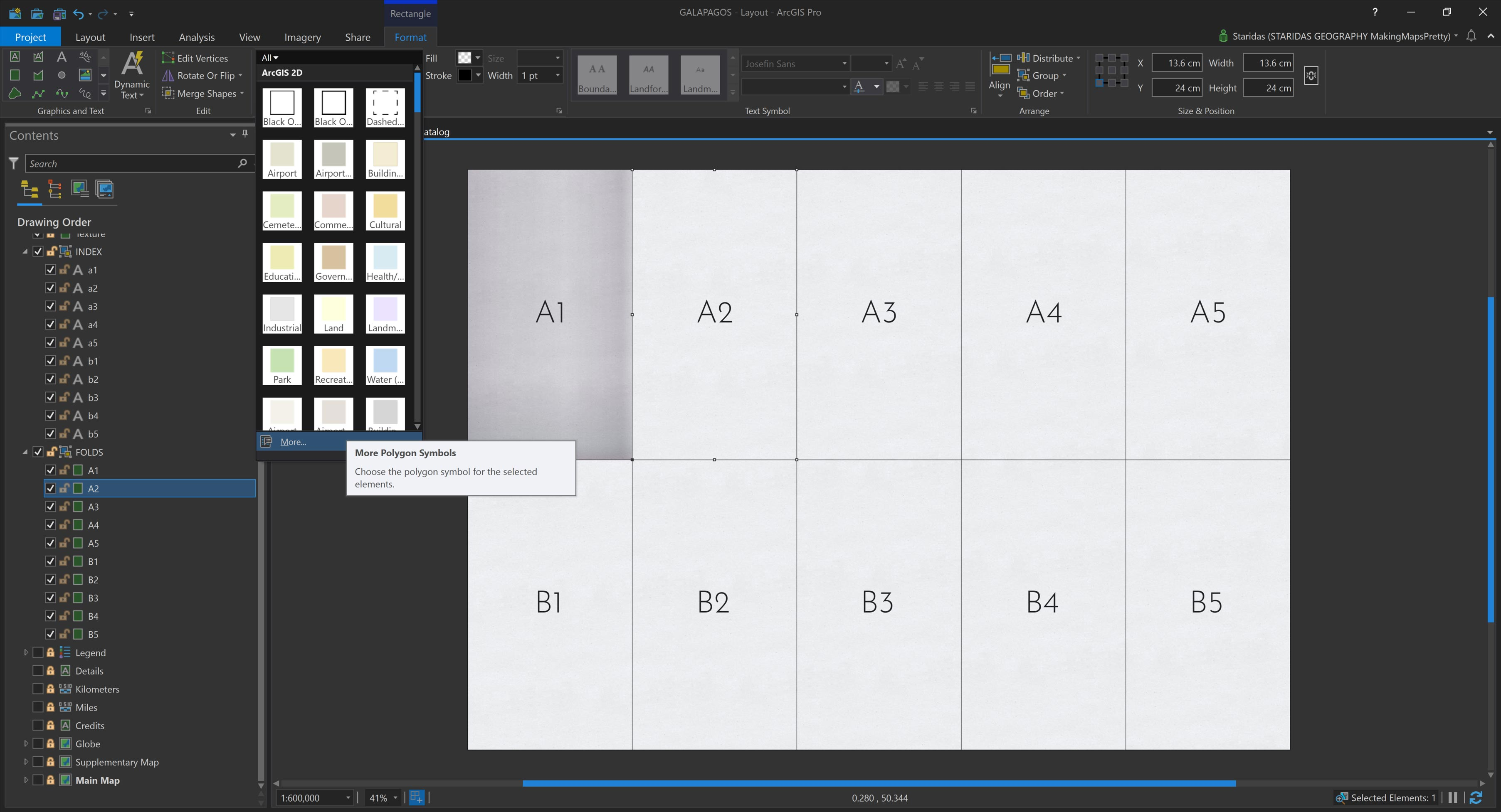 Picture 8: Symbolizing each graphic rectangle with its correspondent symbol from the ArcGIS Pro Style file.