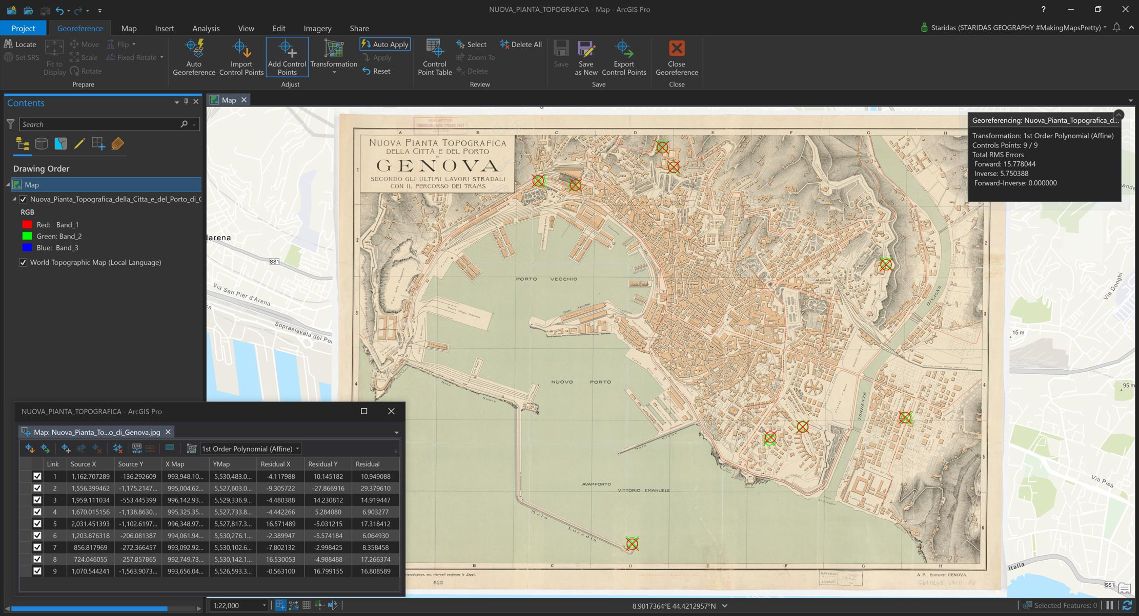 Picture 1: Georeferencing the vintage, classic map on the modern basemap, using well-preserved buildings.