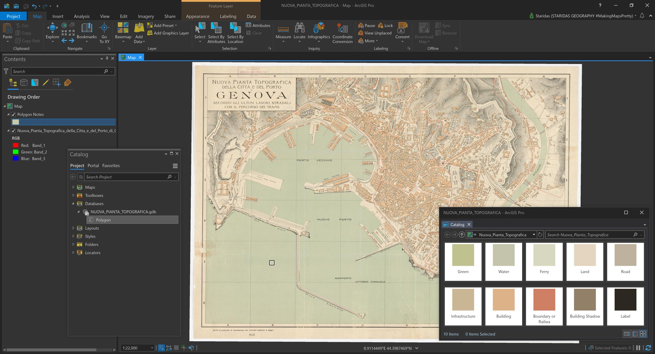 Picture 2: Sampling colors from the original map with the help of the Eyedropper tool on a polygon map notes layer.