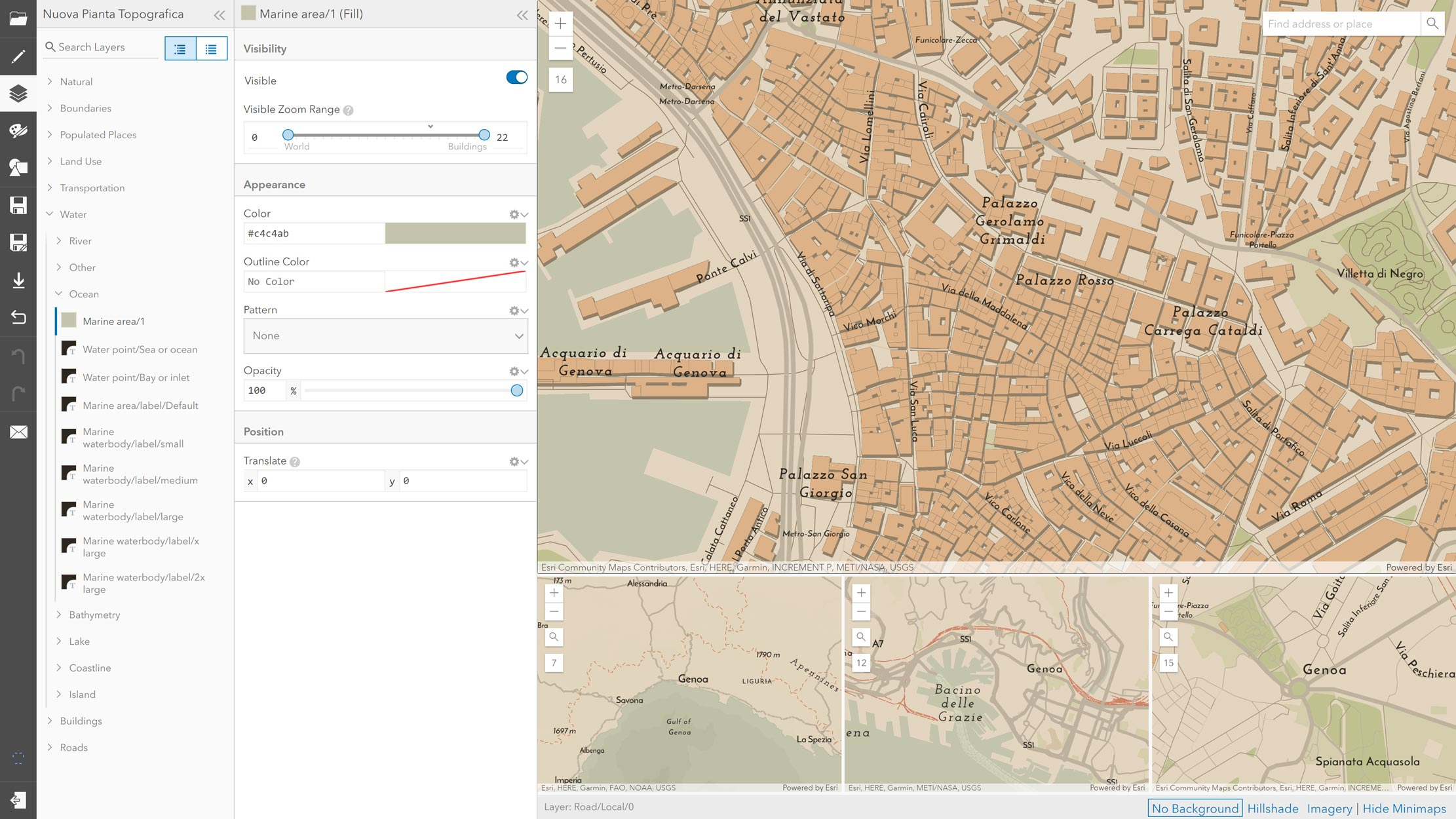 Picture 3: Editing the World Topographic Map in the ArcGIS Vector Tile Style Editor.