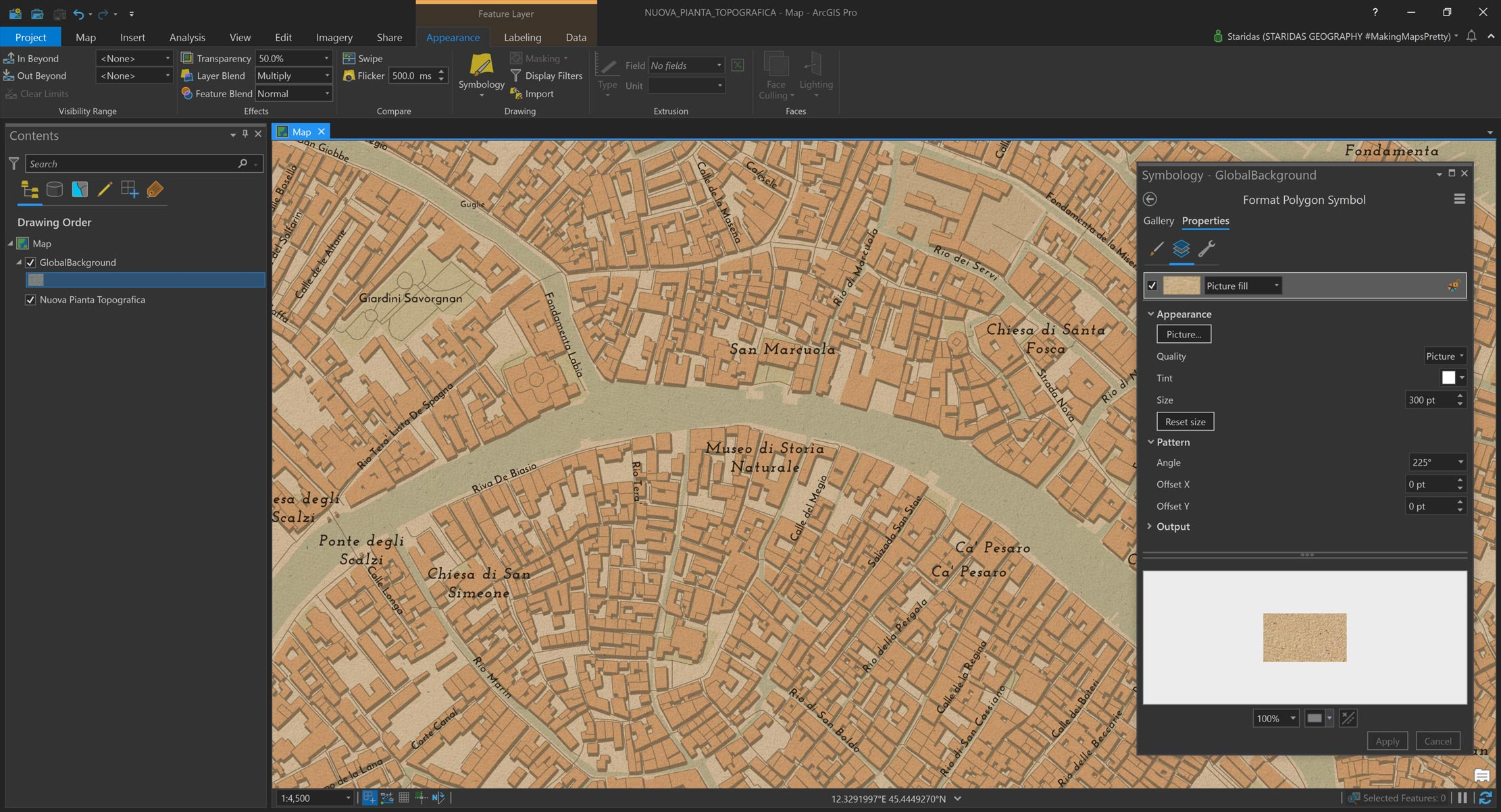 Picture 7: Consuming the Nuova Pianta Topografica vector basemap in ArcGIS Pro, with paper texture overlay.