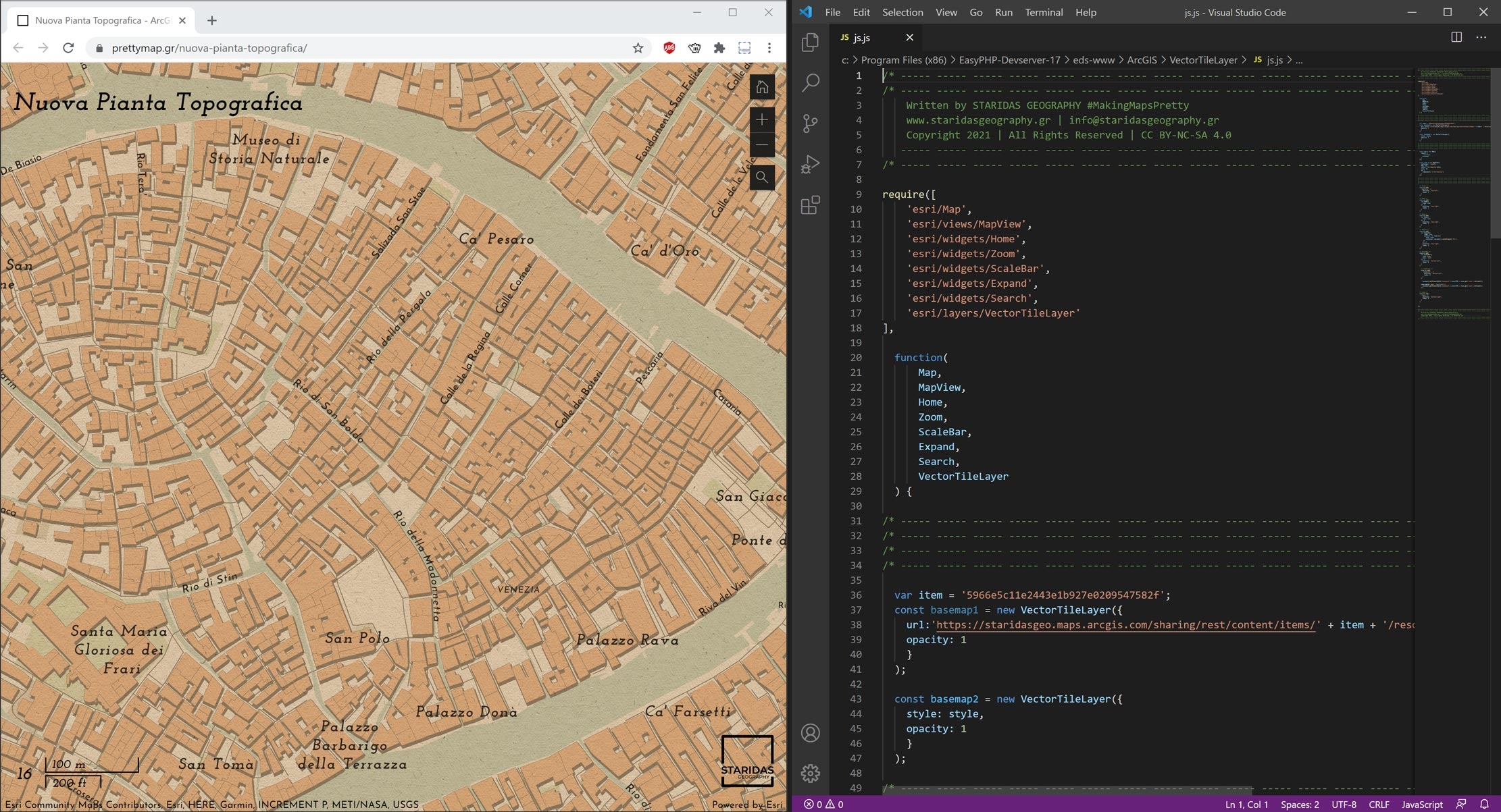 Picture 8: The Nuova Pianta Topografica WebMap, made with the ArcGIS API for JavaScript v4