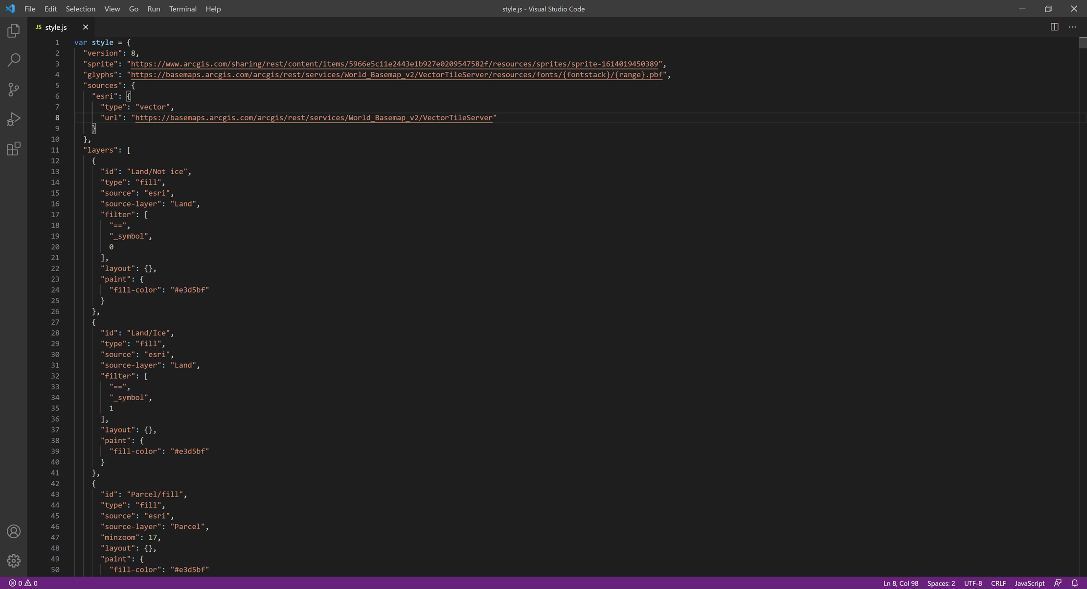 Picture 1: Saving the style for my Esri Vector Basemap in JSON format as a JavaScript file.