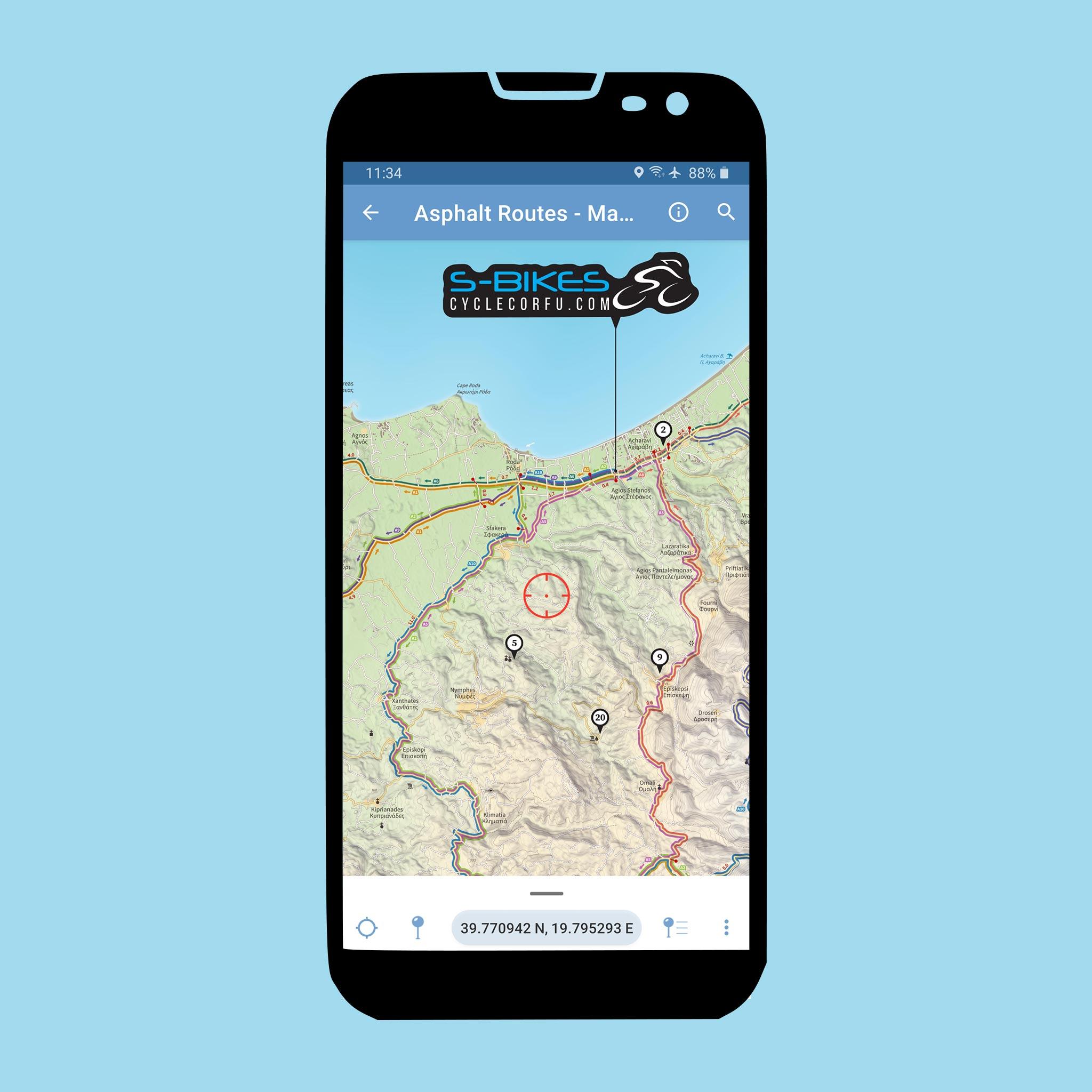 S-Bikes Cycle Corfu - Asphalt Routes - Avenza Maps app