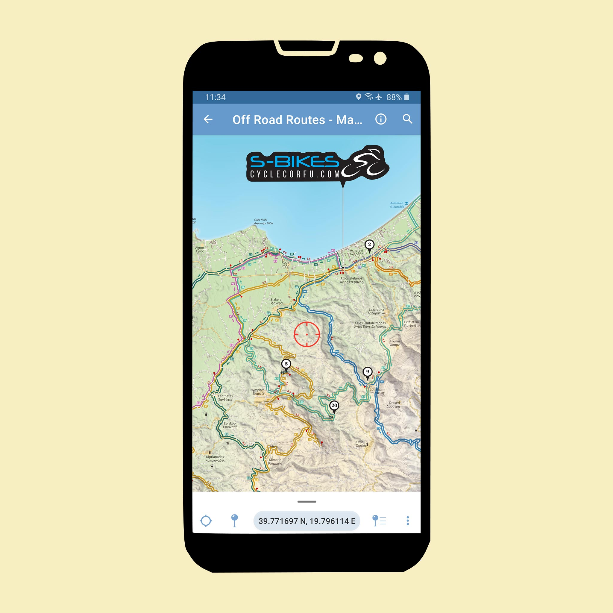S-Bikes Cycle Corfu - Off Road Routes - Avenza Maps app