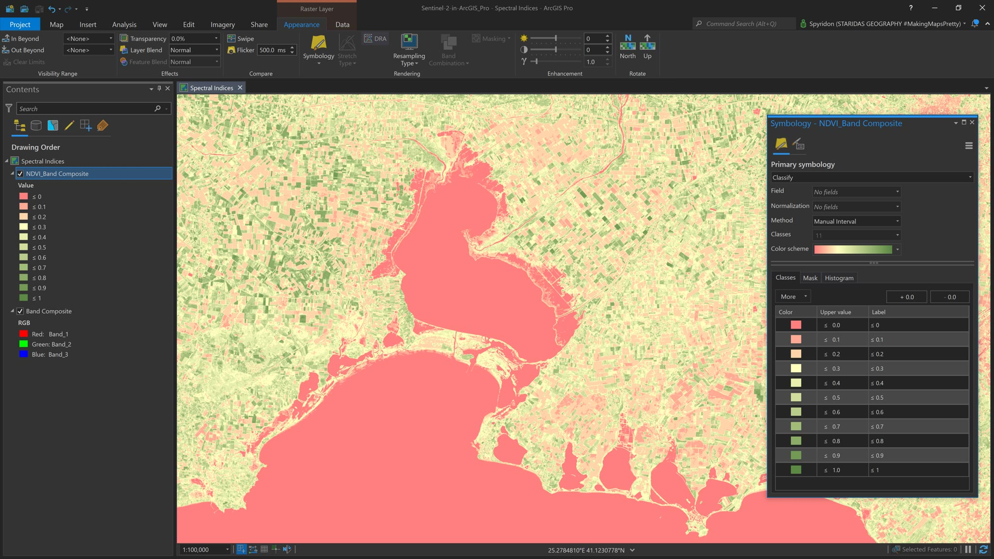 Picture 5: Styling the NDVI layer.