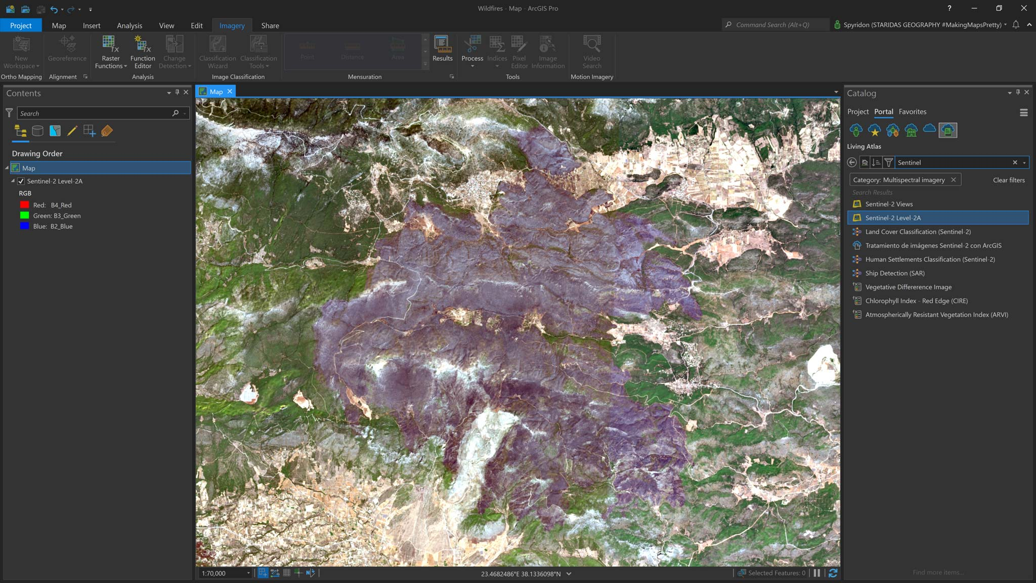Picture 1: The burn scar at Vilia area captured by Sentinel-2.