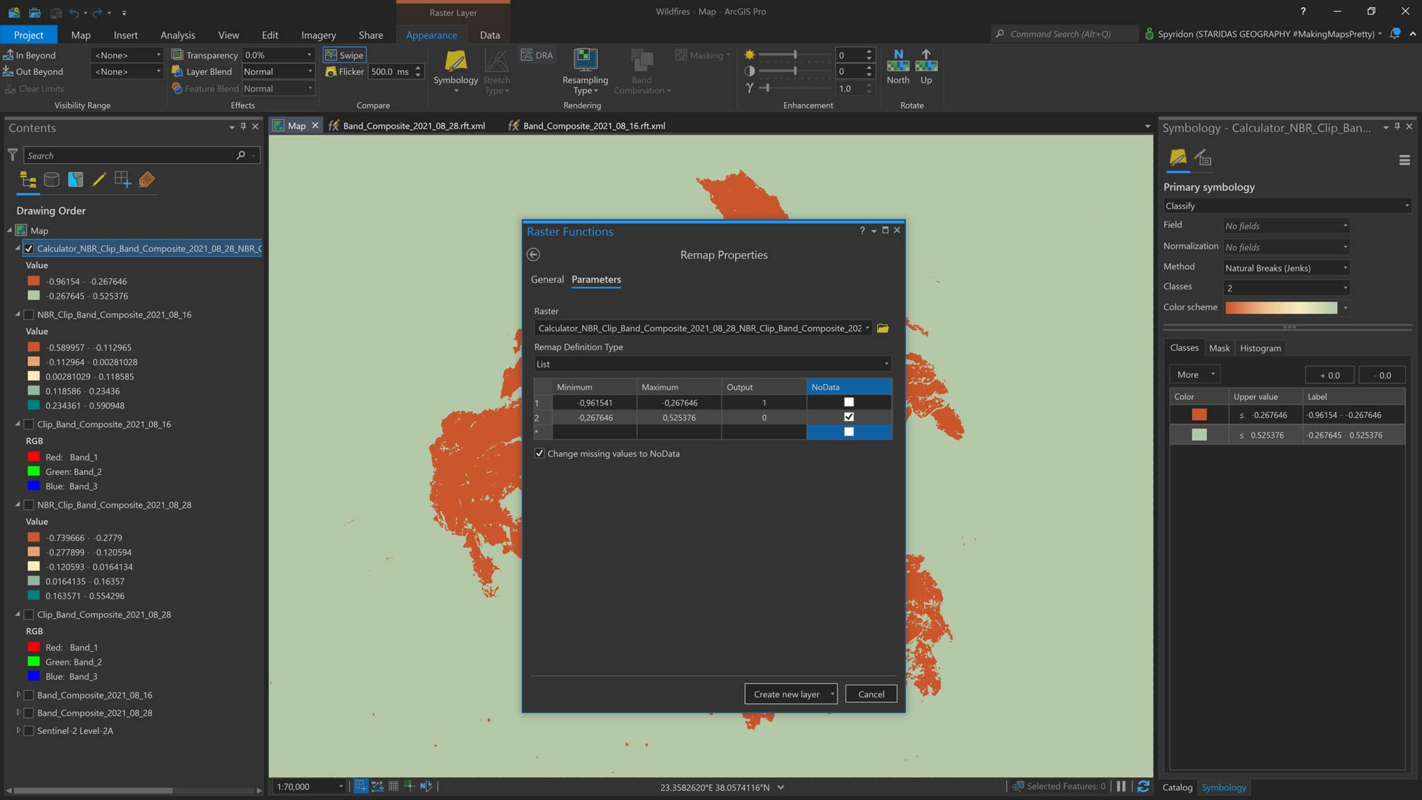 Picture 21: Reclassifying the difference layer to group current pixel values to new burnt and not burnt values.
